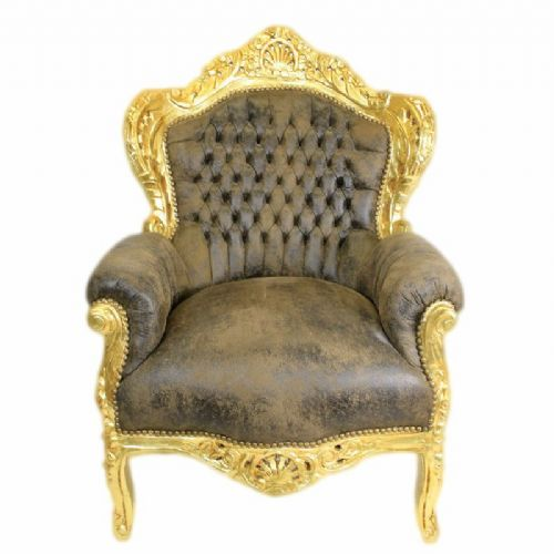 ARMCHAIR - BAROQUE STYLE ARMCHAIR GOLD & BROWN SUEDE # F30MB140